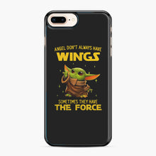 Load image into Gallery viewer, Baby Yoda Angel Don't Have Wings The Force Star Wars iPhone 7,8 Plus Case, Black Plastic Case | Webluence.com