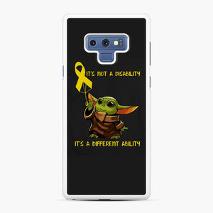 Baby Yoda Autism It's Not A Disability It's A Different Ability Samsung Galaxy Note 9 Case, White Rubber Case | Webluence.com
