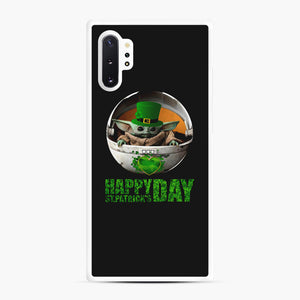Baby Yoda Happy St Patrick's Day Samsung Galaxy Note 10 Plus Case, White Rubber Case | Webluence.com