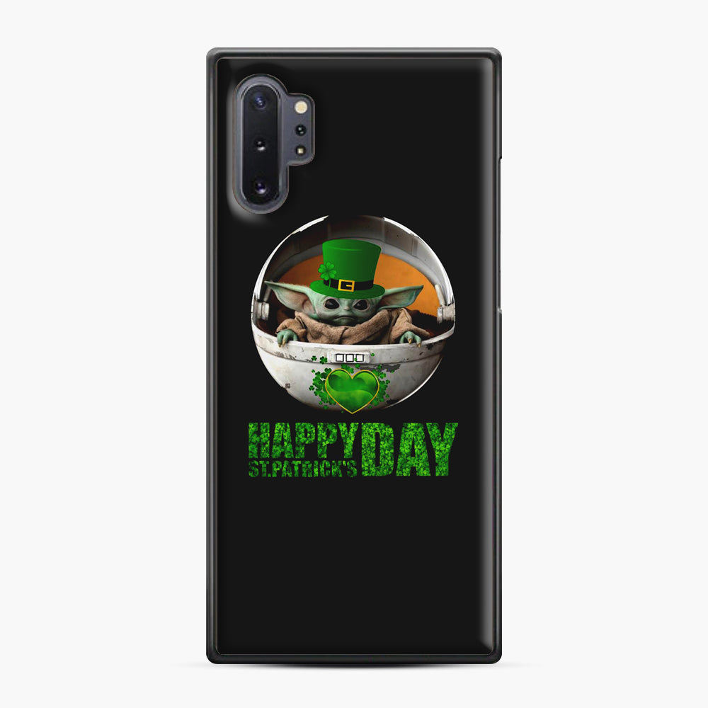 Baby Yoda Happy St Patrick's Day Samsung Galaxy Note 10 Plus Case, Black Plastic Case | Webluence.com