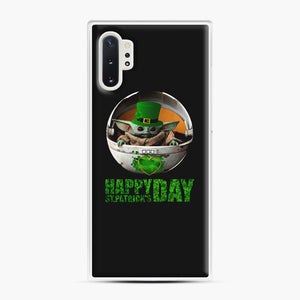 Baby Yoda Happy St Patrick's Day Samsung Galaxy Note 10 Plus Case, White Plastic Case | Webluence.com