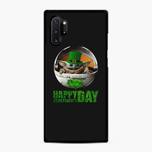 Baby Yoda Happy St Patrick's Day Samsung Galaxy Note 10 Plus Case, Black Rubber Case | Webluence.com