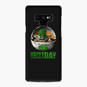Baby Yoda Happy St Patrick's Day Samsung Galaxy Note 9 Case, Black Rubber Case | Webluence.com