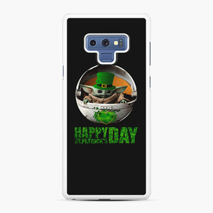 Baby Yoda Happy St Patrick's Day Samsung Galaxy Note 9 Case, White Rubber Case | Webluence.com