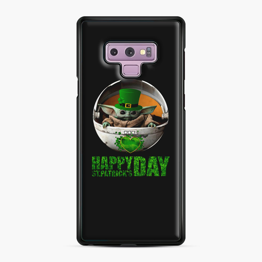 Baby Yoda Happy St Patrick's Day Samsung Galaxy Note 9 Case, Black Plastic Case | Webluence.com