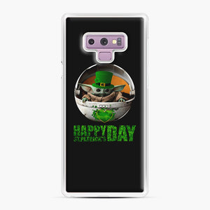 Baby Yoda Happy St Patrick's Day Samsung Galaxy Note 9 Case, White Plastic Case | Webluence.com