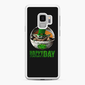 Baby Yoda Happy St Patrick's Day Samsung Galaxy S9 Case, White Rubber Case | Webluence.com