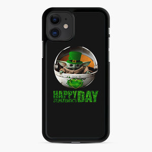 Baby Yoda Happy St Patrick's Day iPhone 11 Case, Black Rubber Case | Webluence.com
