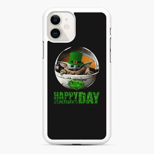 Baby Yoda Happy St Patrick's Day iPhone 11 Case, White Rubber Case | Webluence.com