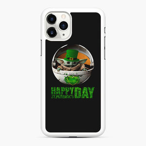 Baby Yoda Happy St Patrick's Day iPhone 11 Pro Max Case, White Rubber Case | Webluence.com