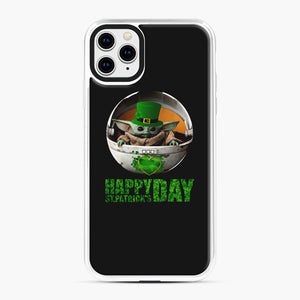 Baby Yoda Happy St Patrick's Day iPhone 11 Pro Max Case, White Plastic Case | Webluence.com