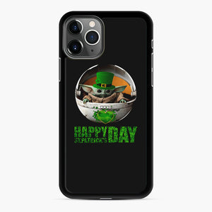 Baby Yoda Happy St Patrick's Day iPhone 11 Pro Max Case, Black Rubber Case | Webluence.com