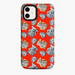 Baby Yoda Pattern A Burger Red iPhone 11 Case