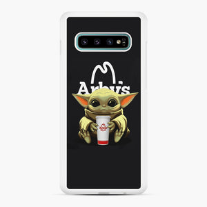 Baby Yoda hug Arby's Samsung Galaxy S10 Plus Case, White Rubber Case | Webluence.com