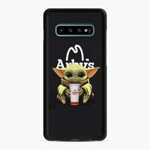 Baby Yoda hug Arby's Samsung Galaxy S10 Plus Case, Black Rubber Case | Webluence.com