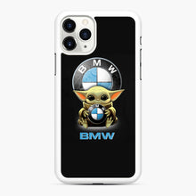 Load image into Gallery viewer, Baby Yoda hug BMW iPhone 11 Pro Max Case, White Rubber Case | Webluence.com