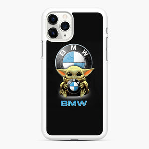 Baby Yoda hug BMW iPhone 11 Pro Max Case, White Rubber Case | Webluence.com