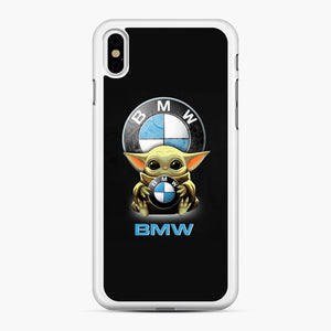 Baby Yoda hug BMW iPhone XS Max Case, White Rubber Case | Webluence.com