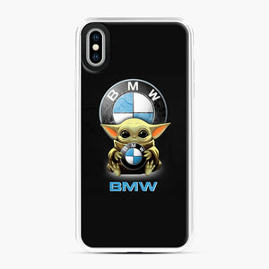 Baby Yoda hug BMW iPhone XS Max Case, White Plastic Case | Webluence.com