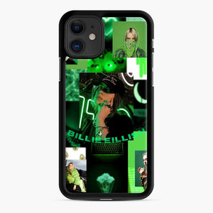 Billie Eilish Green Love Collage iPhone 11 Case, Black Rubber Case