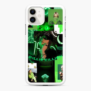 Billie Eilish Green Love Collage iPhone 11 Case, White Rubber Case