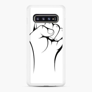 Black Owned Business Fist Of Power End Racism 27 Samsung Galaxy S10 Case, White Rubber Case