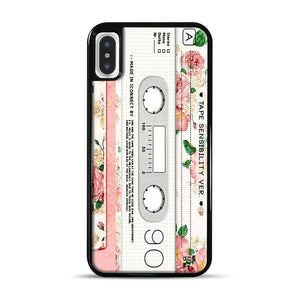Cassette Tape Sensibility Ver iPhone X/XS Case, Black Rubber Case | Webluence.com
