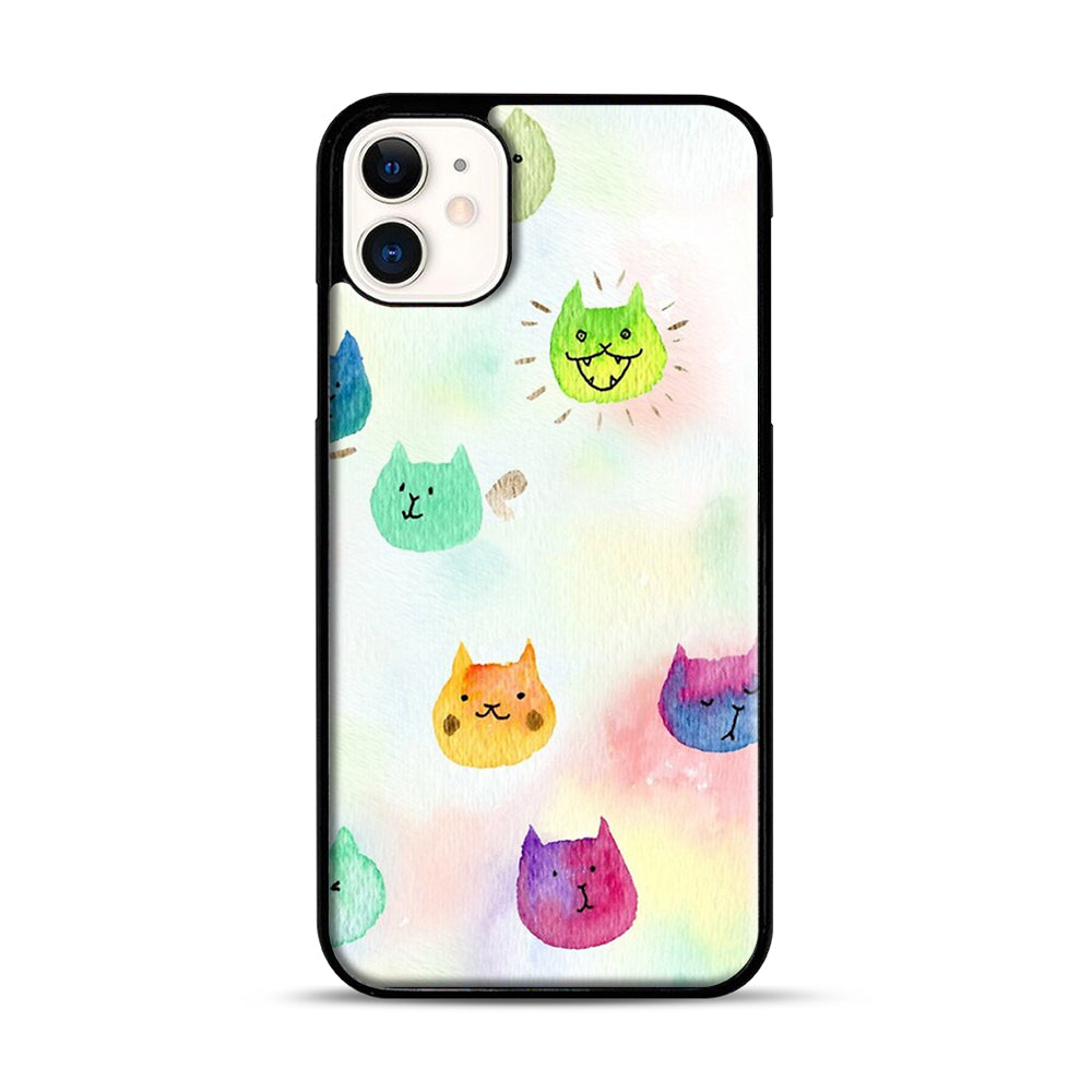 Cat confetti 1 iPhone 11 Case.jpg, Black Plastic Case | Webluence.com