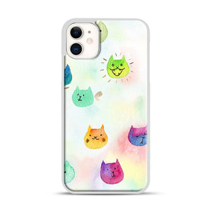 Cat confetti 1 iPhone 11 Case.jpg, White Plastic Case | Webluence.com