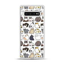 Load image into Gallery viewer, Cats Cats Cats Samsung Galaxy S10 Case, White Plastic Case | Webluence.com