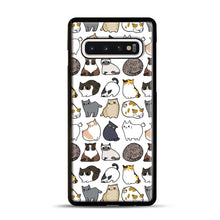 Load image into Gallery viewer, Cats Cats Cats Samsung Galaxy S10 Case, Black Plastic Case | Webluence.com