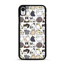 Load image into Gallery viewer, Cats Cats Cats iPhone XR Case, Black Plastic Case | Webluence.com