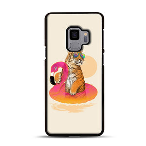 Chillin, Flamingo Tiger Samsung Galaxy S9 Case, Black Rubber Case | Webluence.com