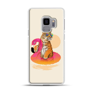 Chillin, Flamingo Tiger Samsung Galaxy S9 Case, White Rubber Case | Webluence.com