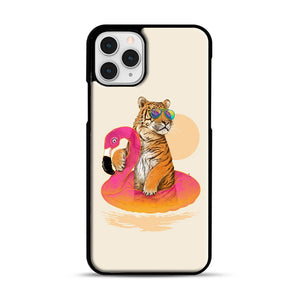 Chillin, Flamingo Tiger iPhone 11 Pro Case, Black Plastic Case | Webluence.com