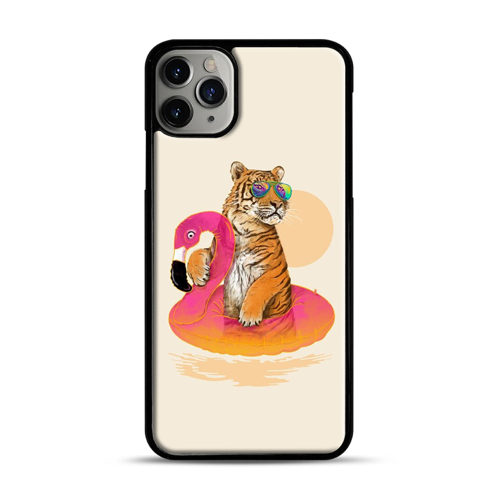 Chillin, Flamingo Tiger iPhone 11 Pro Max Case.jpg, Black Plastic Case | Webluence.com