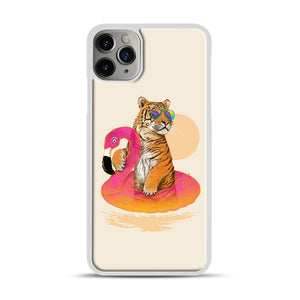 Chillin, Flamingo Tiger iPhone 11 Pro Max Case.jpg, White Plastic Case | Webluence.com