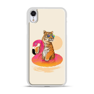 Chillin, Flamingo Tiger iPhone XR Case, White Plastic Case | Webluence.com