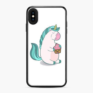 Chubby Hungry Unicorn Fortnite iPhone XS Max Case, Black Plastic Case