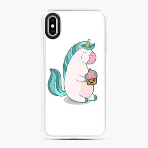 Chubby Hungry Unicorn Fortnite iPhone XS Max Case, White Plastic Case
