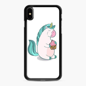Chubby Hungry Unicorn Fortnite iPhone XS Max Case, Black Rubber Case