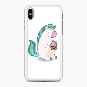 Chubby Hungry Unicorn Fortnite iPhone XS Max Case, White Rubber Case