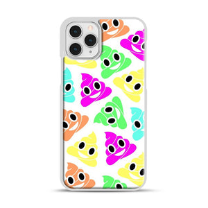 Colourful Poop Emojis iPhone 11 Pro Case, White Plastic Case | Webluence.com