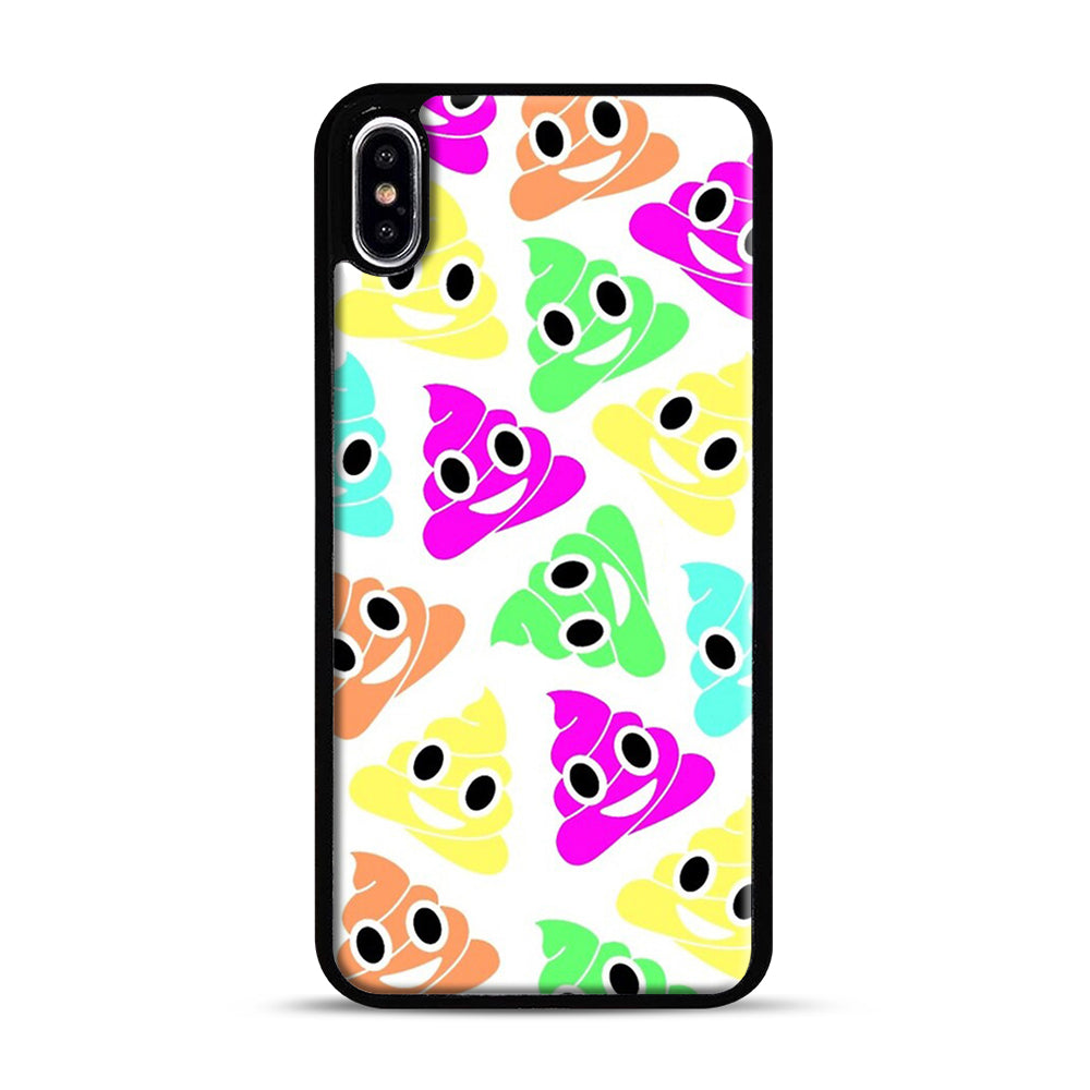 Colourful Poop Emojis iPhone XS Max Case, Black Plastic Case | Webluence.com