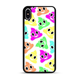 Colourful Poop Emojis iPhone XS Max Case, Black Rubber Case | Webluence.com