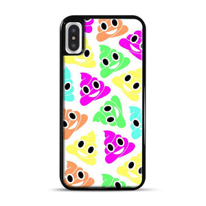Colourful Poop Emojis iPhone X/XS Case, Black Rubber Case | Webluence.com