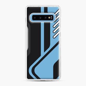 Csgo Blue Black Pattern Samsung Galaxy S10 Case, White Plastic Case