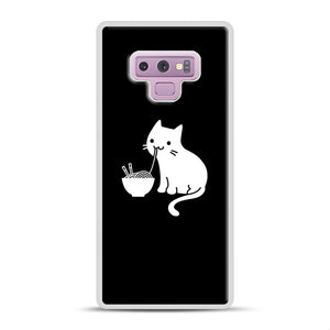 Cute Cat Eating Ramen Samsung Galaxy Note 9 Case, White Rubber Case | Webluence.com