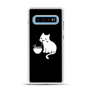 Cute Cat Eating Ramen Samsung Galaxy S10 Plus Case, White Rubber Case | Webluence.com