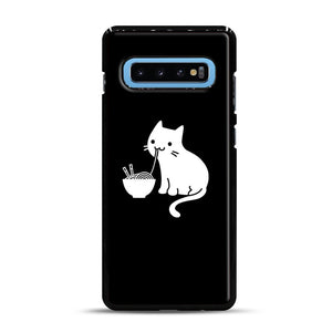 Cute Cat Eating Ramen Samsung Galaxy S10 Plus Case, Black Rubber Case | Webluence.com